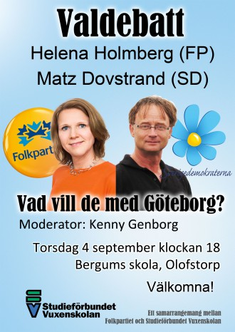 Valdebatt FP-SD 4 sep 2014 Bergums skola